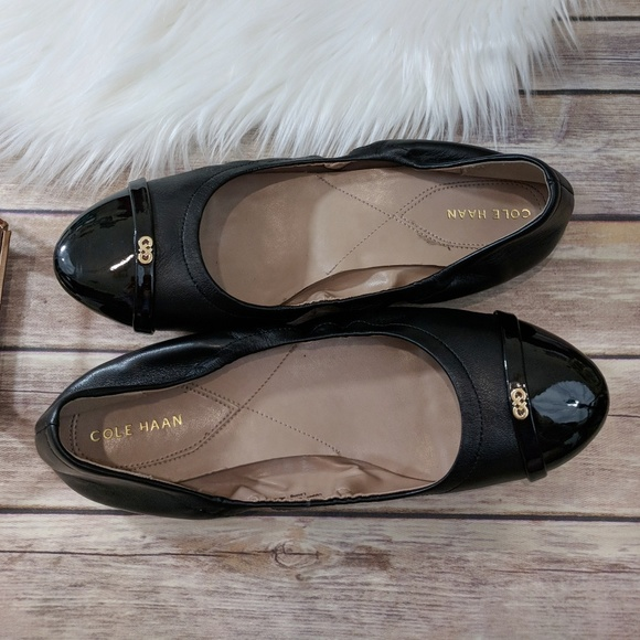 db3e80d9a2be Cole Haan Shoes - Cole Haan Elsie Leather Black Ballet Flats 9B